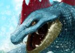 dekunobou_kizakura fangs feraligatr no_humans open_mouth pokemon pokemon_(creature) realistic slit_pupils water wet