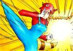 1girl attacking brown_hair genderswap genderswap_(mtf) high_kick kicking mario mario_(series) mario_bros. raccoon_ears raccoon_tail red_cap red_shirt super_mario_bros super_mario_bros. white_gloves