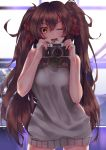 1girl ;d absurdres brown_hair camera eyebrows eyebrows_visible_through_hair girls_frontline hair_between_eyes highres long_hair looking_at_viewer meme_attire messy_hair nishiro_ryoujin one_eye_closed open_mouth qbz-97_(girls_frontline) smile solo sweater sweater_vest twintails virgin_killer_sweater yellow_eyes