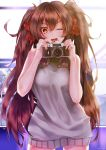 1girl ;d absurdres brown_hair camera eyebrows eyebrows_visible_through_hair girls_frontline hair_between_eyes hair_ribbon highres long_hair looking_at_viewer meme_attire messy_hair nishiro_ryoujin one_eye_closed open_mouth qbz-97_(girls_frontline) ribbon smile solo sweater twintails virgin_killer_sweater yellow_eyes