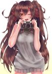 1girl ;d absurdres brown_hair camera eyebrows eyebrows_visible_through_hair girls_frontline hair_between_eyes hair_ribbon highres long_hair looking_at_viewer meme_attire messy_hair nishiro_ryoujin one_eye_closed open_mouth qbz-97_(girls_frontline) ribbon smile solo sweater sweater_vest twintails virgin_killer_sweater yellow_eyes