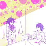 2boys bed black_hair blank_stare blood blood_on_face bloody_clothes bloody_hands bowl chains checkered_scarf closed_eyes danganronpa facial_hair hair_down halftone_texture hiyowa hospital_bed hospital_gown limited_palette looking_at_another male_focus messy_hair momota_kaito multiple_boys new_danganronpa_v3 ouma_kokichi purple_hair scarf short_hair smile spoilers straitjacket