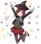 1girl :3 blush brown_hair clenched_hands danganronpa full_body hair_ornament hairclip hat jumping new_danganronpa_v3 open_mouth outstretched_arms pantyhose pleated_skirt red_eyes school_uniform short_hair skirt smile solo witch_hat yumeno_himiko yuyupo