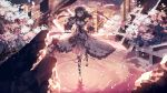 1girl alternate_costume alternate_hairstyle breasts cherry_blossoms cleavage dress fate/stay_night fate_(series) frills gown hair_ornament highres instrument large_breasts long_hair looking_at_viewer matou_sakura music playing_instrument purple_hair ser323 smile solo standing standing_on_liquid violet_eyes violin