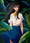 1girl arms_at_sides bangs blue_skirt bow bowtie buttons closed_mouth collared_shirt commentary cowboy_shot dress_shirt eyebrows_visible_through_hair floating_hair kurokeisin leaf long_hair original plant pleated_skirt school_uniform shirt short_sleeves skirt solo violet_eyes water_drop white_shirt wind yellow_bow yellow_bowtie