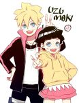ahoge black_hair blonde_hair blue_eyes brother_and_sister facial_mark family jacket long_sleeves naruto pink_skirt short_hair siblings skirt smile uzumaki_boruto uzumaki_himawari yellow