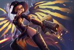 1girl aiming_at_viewer alternate_costume broom gun hat mechanical_wings mercy_(overwatch) open_mouth overwatch pelvic_curtain smile solo thigh-highs weapon wings witch_hat witch_mercy yang_fan