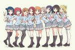 6+girls :d ahoge aida_rikako aqua_eyes arm_around_shoulder arm_around_waist bangs beige_background black_hair black_legwear black_shoes blonde_hair blue_eyes blue_hair blunt_bangs bow bracelet braid brown_eyes brown_hair clenched_hand clothes_writing commentary crown_braid full_body furihata_ai green_eyes grey_hair grin group_picture hair_bow hair_ornament hair_rings hairclip highres inami_anju jewelry kneehighs kobayashi_aika komiya_arisa kunikida_hanamaru kurosawa_dia kurosawa_ruby lineup loafers long_hair looking_at_viewer love_live! love_live!_sunshine!! matsuura_kanan mole mole_under_mouth multiple_girls ohara_mari open_mouth orange_hair pantyhose pas_(paxiti) photo_reference pleated_skirt ponytail red_eyes redhead saitou_shuka sakurauchi_riko shirt shoes short_hair short_sleeves side_bun sidelocks skirt smile standing suwa_nanaka suzuki_aina_(seiyuu) t-shirt takami_chika takatsuki_kanako thigh-highs tsushima_yoshiko two_side_up v violet_eyes watanabe_you white_legwear yellow_bow