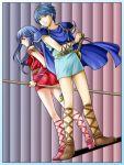 1boy 1girl ass blue_eyes blue_hair cape falchion_(fire_emblem) fire_emblem fire_emblem:_ankoku_ryuu_to_hikari_no_tsurugi fire_emblem:_monshou_no_nazo full_body gloves highres long_hair marth sheeda smile sword tiara weapon yuino_(fancy_party)
