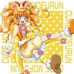 1girl animal_ears bear_ears bloomers blue_eyes boo_(takagi) bow brown_hair character_name cure_mofurun gloves hair_bow hand_on_own_cheek hat hat_bow highres kneehighs long_hair looking_at_viewer magical_girl mahou_girls_precure! mini_hat mini_witch_hat mofurun_(mahou_girls_precure!) multicolored multicolored_eyes orange_shirt orange_shoes personification pink_bow precure puffy_sleeves red_bow see-through shirt shoes single_kneehigh sleeveless sleeveless_shirt smile solo striped striped_legwear underwear witch_hat yellow yellow_background yellow_bow yellow_eyes yellow_gloves yellow_hat