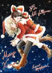 2girls :d ^_^ belt black_legwear blonde_hair boots bow braid brown_hair closed_eyes commentary couple dress english flying fur_trim hair_bow hair_tubes hakurei_reimu hand_holding happy hat hug hug_from_behind jacket kirisame_marisa laughing long_hair long_sleeves merry_christmas miniskirt mistletoe multiple_girls night night_sky open_mouth papiko_(papiko8901) pleated_skirt santa_costume santa_hat sarashi shorts side_braid signature single_braid skirt sky sleeveless sleeveless_dress smile snowing star thigh-highs touhou twitter_username yuri
