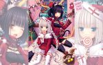 2girls :3 ;3 ;d animal_ears artist_name bangs bed belt black_hair black_legwear blue_eyes blunt_bangs blush braid brown_eyes cake candy cat_ears chocola_(sayori) christmas christmas_ornaments christmas_tree cookie doll double_bun food food_in_mouth garter_straps hat highres lolita_fashion lollipop long_hair looking_at_viewer merry_christmas multiple_girls official_art on_bed one_eye_closed open_mouth original pastry pom_pom_(clothes) santa_costume santa_hat sayori sitting skirt slit_pupils smile stuffed_animal stuffed_cat stuffed_toy sweets swirl_lollipop tail thigh-highs thigh_strap twin_braids vanilla_(sayori) very_long_hair wallpaper white_hair white_legwear window zettai_ryouiki zoom_layer