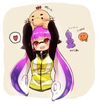 1girl arms_up bangs black_shirt commentary_request conomi-c5 cropped_torso doseisan fangs headgear heart highres holding inkling long_hair long_sleeves looking_up mother_(game) mother_2 open_mouth purple_shirt red_eyes shirt simple_background smile solo splatoon spoken_heart squidbeak_splatoon standing translation_request white_background yellow_vest