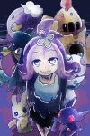 1girl acerola_(pokemon) anchor arms_behind_back bangs closed_mouth costume dhelmise dress drifblim elite_four eyebrows_visible_through_hair flipped_hair froslass gem hair_ornament igogo looking_at_viewer mega_pokemon mega_sableye mimikyu palossand pikachu_costume pokemon pokemon_(creature) pokemon_(game) pokemon_sm purple purple_hair sableye sand sand_castle sand_sculpture seaweed sharp_teeth ship's_wheel short_hair short_sleeves shovel smile standing stitches teeth topknot torn_clothes torn_dress torn_sleeves trial_captain white_eyes worktool