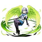 1girl black_bow black_legwear black_shirt blue_eyes blue_ribbon blue_skirt bow braid divine_gate feathered_wings full_body green_wings hair_bow kanase_kanon looking_at_viewer neck_ribbon official_art panties pleated_skirt ribbon school_uniform serafuku shadow shirt short_hair silver_hair skirt solo strike_the_blood transparent_background ucmm underwear white_shirt wings