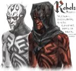 1boy alien darth_maul dual_persona hood horns looking_at_viewer red_skin redesign science_fiction serious sith sketch spoilers star_wars star_wars:_rebels star_wars:_the_clone_wars star_wars:_the_phantom_menace tattoo translation_request upper_body variations yellow_eyes you_gonna_get_raped