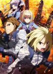 2boys 2girls blonde_hair blue_eyes brown_eyes brown_hair camouflage clenched_teeth fire floating_hair frolaytia_capistrano hair_ornament hairband havia_winchell heavy_object holding holding_weapon key_visual looking_at_viewer milinda_brantini military military_uniform multiple_boys multiple_girls official_art open_mouth qwenthur_barbotage short_hair silver_hair smile spiky_hair teeth uniform violet_eyes weapon white_hairband