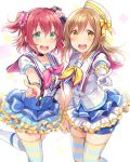 2girls :d aozora_jumping_heart aqua_eyes bangs bow bracelet brown_hair choker commentary_request dress earrings frills gloves hair_bow hand_holding hat hat_bow jewelry kunikida_hanamaru kurosawa_ruby long_hair love_live! love_live!_sunshine!! multiple_girls neckerchief open_mouth pointing pointing_at_viewer redhead sailor_collar sailor_hat sakou_mochi scrunchie short_sleeves smile striped striped_bow suspenders thigh-highs two_side_up yellow_bow yellow_eyes