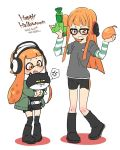 2girls anger_vein bike_shorts boots brown_eyes cat cosplay costume_switch domino_mask fang glasses happy_halloween headphones inkling inkling_(cosplay) jajji-kun_(splatoon) kanya_pyi long_hair look-alike mask morgana_(persona_5) morgana_(persona_5)_(cosplay) multiple_girls open_mouth orange_eyes orange_hair persona persona_5 sakura_futaba sakura_futaba_(cosplay) shorts sidelocks simple_background splatoon spoken_anger_vein tentacle_hair white_background