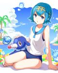 1girl absurdres bangs blue_eyes blue_hair blue_sky blue_swimsuit blush breasts clouds cloudy_sky day eyebrows_visible_through_hair hairband highres looking_at_viewer maeshimashi ocean open_mouth outdoors palm_tree pokemon popplio sandals school_swimsuit school_uniform serafuku short_hair sitting sky small_breasts solo suiren_(pokemon) swimsuit swimsuit_under_clothes thighs tree water_drop white_flower yellow_flower yokozuwari