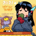 1boy 1girl 2021 asta_rindo black_hair bodysuit breasts english_commentary english_text food fruit gloves grey_sweater hands_up happy_new_year highres jitome kotatsu large_breasts long_hair long_sleeves mandarin_orange marker mixed-language_commentary neri_(rariatto) new_year original parted_lips rariatto_(ganguri) red_gloves ribbed_sweater robot_ears sipping steam sweater table