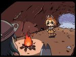 2girls animal_ears b3 bare_shoulders black_hair blonde_hair bow bowtie campfire cat_ears cat_tail cave elbow_gloves gloves hat kaban kemono_friends lucky_beast_(kemono_friends) multiple_girls safari_hat scared serval_(kemono_friends) serval_ears serval_print serval_tail short_hair skirt sleeveless snow tail thigh-highs trembling yellow_eyes