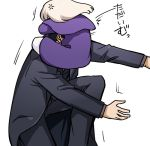 1boy 1girl anger_vein black_jacket black_pants commentary_request emiya_kiritsugu face_hug fate/zero fate_(series) father_and_daughter illyasviel_von_einzbern jacket long_sleeves pants purple_capelet purple_coat simple_background white_background yuuma_(u-ma)