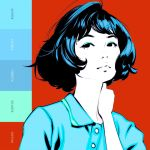 1girl bangs black_hair how_to ilya_kuvshinov original short_hair solo swept_bangs upper_body