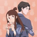 1boy 1girl akko_kagari andrew_hanbridge back-to-back black_hair blush brown_hair commentary_request crossed_arms gift green_eyes highres little_witch_academia long_hair rabbit red_eyes valentine windwillows