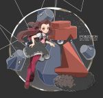 1girl artist_name ascot blue_eyes brown_hair copyright_name dress grey_dress hair_rings hand_on_hip long_hair mary_janes nomura_(arumon) pinafore_dress pink_eyes pink_legwear pokemon pokemon_(creature) pokemon_(game) pokemon_oras probopass shoes smile standing standing_on_one_leg tsutsuji_(pokemon) twintails