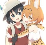 2girls :d ;d animal_ears armpit_peek backpack bag bare_shoulders belt black_eyes black_gloves black_hair blush bow bowtie cat_ears collarbone elbow_gloves eye_contact eyebrows_visible_through_hair gloves hair_between_eyes hand_on_another's_arm hat hat_feather hug kaban kemono_friends light_brown_eyes looking_at_another multiple_girls one_eye_closed open_mouth orange_hair red_shirt safari_hat serval_(kemono_friends) serval_ears serval_print shirt short_hair short_sleeves simple_background skirt sleeveless sleeveless_shirt smile tareme upper_body white_background white_shirt yuukagen_(poipoipopoino)