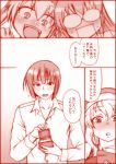 3girls :d baseball_cap blush chiba_toshirou collarbone comic dragon_girl fangs flying_sweatdrops glasses hat heterochromia horns jewelry kobayashi-san_chi_no_maidragon kobayashi_(maidragon) long_hair long_sleeves magatsuchi_shouta monochrome multiple_girls older opaque_glasses open_mouth proposal quetzalcoatl_(maidragon) red ring ring_box shiny shiny_hair short_hair slit_pupils smile surprised sweatdrop tears tooru_(maidragon) translation_request wedding_ring