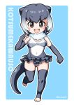 1girl :d animal_ears aqua_background bare_shoulders barefoot blush border brown_eyes character_name chibi clenched_hands collar covered_navel crotch elbow_gloves eyebrows_visible_through_hair fingerless_gloves frilled_swimsuit frills full_body fur_collar gloves gradient_hair grey_gloves grey_hair grey_legwear grey_swimsuit hair_between_eyes kemono_friends kurono looking_at_viewer multicolored_hair navel no_shoes one-piece_swimsuit open_mouth otter_(kemono_friends) otter_ears otter_tail outline outside_border romaji rounded_corners running short_hair smile solo swimsuit tail tareme teeth thigh-highs toeless_legwear toeless_socks two-tone_hair white_border white_hair white_outline
