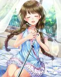 1girl :d absurdres bed braid brown_hair closed_eyes dress dutch_angle frilled_skirt frills front_braid hair_ornament hairclip hariba_kurabayashi highres holding hospital_bed indoors intravenous_drip lens_flare on_bed open_mouth pill round_teeth school_fanfare skirt smile teeth window