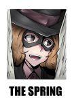 black_eyes brown_hair door gggg hat mask okumura_haru open_mouth parody persona persona_5 short_hair smile teeth the_shining
