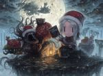 blonde_hair blood bloodborne chibi cleric_beast hat hunter_(bloodborne) messengers_(bloodborne) monster moon moon_presence night plain_doll santa_hat short_hair smile tatsuya_(atelier_road) wolf