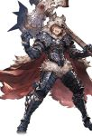 1boy alpha_transparency animal_pelt armor axe battle_axe berserker_(granblue_fantasy) black_boots boots brown_eyes brown_hair cape clenched_hand full_body gran_(granblue_fantasy) granblue_fantasy holding holding_weapon male_focus minaba_hideo official_art over_shoulder smile solo transparent_background weapon weapon_over_shoulder wide_stance wolf_pelt
