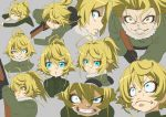 :o =_= angry blue_eyes character_sheet clenched_teeth closed_eyes expressions grey_background gun hair_between_eyes hijikawa_arashi nervous rifle simple_background sweat tanya_degurechaff teeth weapon wide-eyed yellow_eyes youjo_senki