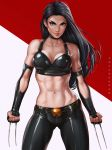 >:) 1girl abs artist_name belt black_choker black_gloves black_hair black_pants breasts choker claws cleavage clenched_hands closed_mouth collarbone cowboy_shot crop_top dandon_fuga elbow_gloves fingerless_gloves gloves gluteal_fold green_eyes laura_kinney long_hair looking_at_viewer marvel medium_breasts muscle muscular_female navel pants red_lips skin_tight sleeveless solo standing stomach thick_eyebrows toned two_side_up weapon x-23 x-men