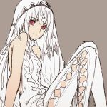 1girl altera_(fate) blush dark_skin fate/grand_order fate_(series) looking_at_viewer meme_attire red_eyes short_hair smile solo virgin_killer_sweater wanko_(takohati8) white_hair