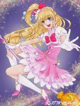 1girl :d blonde_hair blue_eyes blush bow bracelet broom broom_riding crescent_moon cure_miracle dress earrings foreshortening full_body gloves hair_bow high_heels jewelry layered_dress long_hair looking_at_viewer magical_girl mahou_girls_precure! moon open_mouth otanagare pink_dress precure smile solo twitter_username violet_eyes white_gloves white_legwear