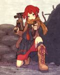 1girl blush boots bullet_hole gun h&k_mp5k heckler_&_koch jacket knee_boots kneehighs kneeling looking_at_viewer open_mouth original red_shorts redhead scarf school_uniform serafuku shell_casing shorts shorts_under_skirt submachine_gun tetsuro_ito trigger_discipline two_side_up weapon