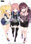 3girls :3 :d :o adidas ahoge animal_print ankle_socks arm_above_head arm_up artist_name bangs bare_legs belt belt_boots belt_over_shirt black_boots black_choker black_jacket black_legwear black_ribbon black_skirt blonde_hair blouse blue_eyes blue_hair blue_jacket blush boots bottomless brand_name_imitation breasts brown_hair buckle butterfly_print buttons camisole candy choker cleavage collarbone comiket comiket_91 copyright_name cover cover_page cross cross_print curly_hair cutoffs denim denim_shorts doujin_cover earrings eating english eyebrows_visible_through_hair eyelashes eyes_visible_through_hair fingernails fishnets food frilled_blouse frilled_sleeves frills from_above full_body fur fur-trimmed_jacket fur_scrunchie fur_trim garter_belt girl_sandwich glint gluteal_fold hair_between_eyes hair_intakes hair_ornament hair_scrunchie hair_tucking hand_in_pocket harness high_ponytail highres holding holding_food hood hooded_jacket hoyashi_rebirth ichinose_shiki idolmaster idolmaster_cinderella_girls jacket jewelry knee_boots lace lace-trimmed_garter_belt leaning_forward leather leather_boots legs letterman_jacket licking light_brown_hair locked_arms lollipop long_fingernails long_hair long_sleeves looking_at_viewer looking_up medium_breasts multicolored multicolored_hair multicolored_nail_polish multicolored_shoes multiple_girls nail_polish ninomiya_asuka o-ring o-ring_belt o-ring_legwear one_eye_closed ootsuki_yui open_blouse open_clothes open_jacket open_mouth open_toe_shoes patterned_background pencil_skirt pink_blouse pocket pom_pom_(clothes) pom_pom_earrings ponytail rainbow_text raised_eyebrows ribbon ribbon_choker sandwiched scrunchie see-through sharp_fingernails shiny shiny_clothes shiny_hair shiny_skin shoes short_hair_with_long_locks short_shorts shorts sidelocks simple_background skeleton_print skindentation skirt sleeveless small_breasts smile sneakers socks spaghetti_strap sparkle standing star star_print streaked_hair striped striped_jacket striped_leg