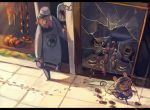 1boy 1girl animal_ears bracelet broken_window butcher cleaver commentary_request display doorway dowsing_rod food footprints hat holding jewelry koto_inari letterboxed meat mouse mouse_ears mouse_tail nazrin necklace pavement sausage sign smile sparkle tail theft touhou window