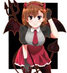 1girl adjusting_hair alternate_costume bangs black_background black_gloves black_legwear black_wings closed_mouth collared_shirt cowboy_shot demon_horns demon_tail demon_wings fake_horns gloves grey_shirt hairband hand_on_own_thigh highres horns leaning_forward looking_at_viewer misaka_mikoto momoiro_tanuki necktie outside_border pantyhose pitchfork puffy_short_sleeves puffy_sleeves raglan_sleeves red_necktie shirt short_hair short_sleeves smile solo standing tail to_aru_kagaku_no_railgun to_aru_majutsu_no_index wings