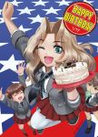 3girls abazu-red alisa_(girls_und_panzer) american_flag arms_up bangs birthday_cake black_necktie black_shoes blazer blonde_hair blouse blue_eyes blue_shoes bubble_blowing cake chewing_gum closed_eyes dated dress_shirt emblem english flag_background food foreshortening freckles from_above girls_und_panzer grey_jacket grey_legwear hair_intakes hair_ornament happy_birthday highres holding jacket kay_(girls_und_panzer) loafers long_hair long_sleeves looking_at_viewer looking_up miniskirt multiple_girls naomi_(girls_und_panzer) necktie one_eye_closed open_clothes open_jacket open_mouth pleated_skirt red_skirt school_uniform shirt shoes short_hair short_twintails skirt sleeves_rolled_up smile sneakers standing star star_hair_ornament thigh-highs twintails twitter_username very_short_hair white_blouse white_legwear