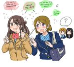 4girls :3 ? @_@ anyan_(jooho) bag black_hair blazer blue_bow blue_bowtie blue_jacket blush bow bowtie brown_hair brown_jacket buttons crossover earphones english flying_sweatdrops highres hoshizora_rin idolmaster idolmaster_cinderella_girls jacket koizumi_hanayo long_hair looking_at_another love_live! love_live!_school_idol_project md5_mismatch multiple_girls namesake open_mouth orange_hair red_bow red_bowtie shared_thought_bubble shibuya_rin shimamura_uzuki short_hair striped striped_bow striped_bowtie sweat sweatdrop tangle thought_bubble translated upper_body white_background