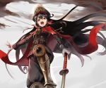 1girl belt black_hair black_hat boots cape commentary_request demon_archer fate_(series) from_below gloves hat japanese_clothes knee_up koha-ace long_hair long_sleeves looking_at_viewer military military_uniform planted_sword planted_weapon red_cape red_eyes solo sue_sgr_u sword uniform weapon white_gloves