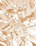 3girls burstinatrix cape coat duel_monster elemental_hero_burstinatrix eria highres hiita long_hair monochrome multiple_girls short_hair smile tahira_ureka yu-gi-oh!