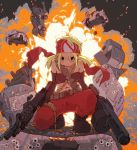 1girl belt belt_feed bikini_top blonde_hair boots bullet bullet_hole car detached_sleeves explosion grenade_launcher ground_vehicle gun headband looking_at_viewer m249 machine_gun motor_vehicle original pants red_pants shell_casing solo tetsuro_ito twintails weapon
